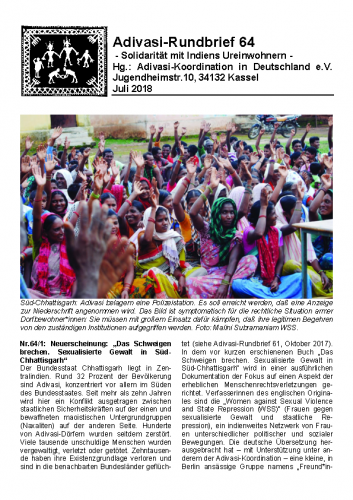 Adivasi Rundbrief 64
